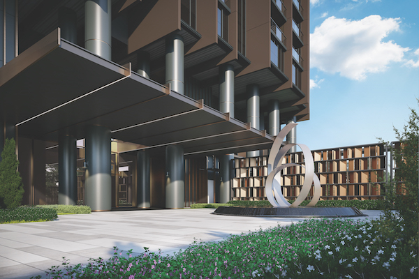 "Pullman Residences Newton - The driveway of Pullman Residences Newton with its ""rail inspired' sculpture - EDGEPROP SINGAPORE"