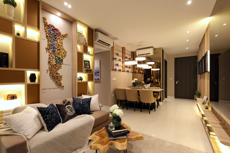 Riverfront Residences - The living and dining area of a three-bedroom show unit - EDGEPROP SINGAPORE
