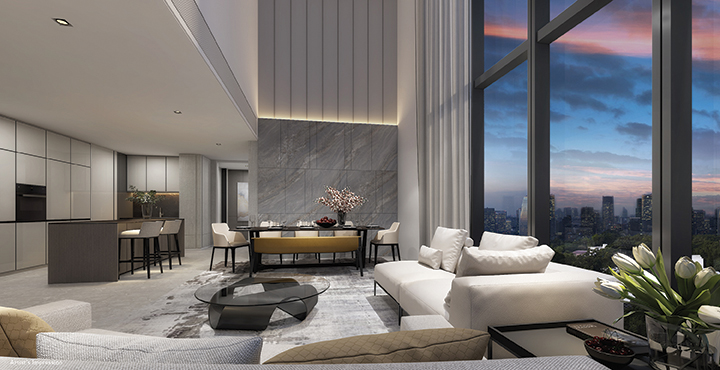 Amber Park - Artist's impression of the living and dining area designed by Chan Soo Khian, principal of SCDA Architects