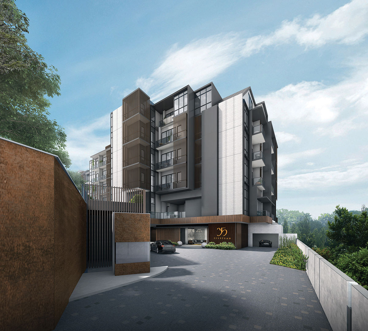 An artist impression of the entrance driveway. The condo is a short drive to shopping malls in Novena and Orchard Road