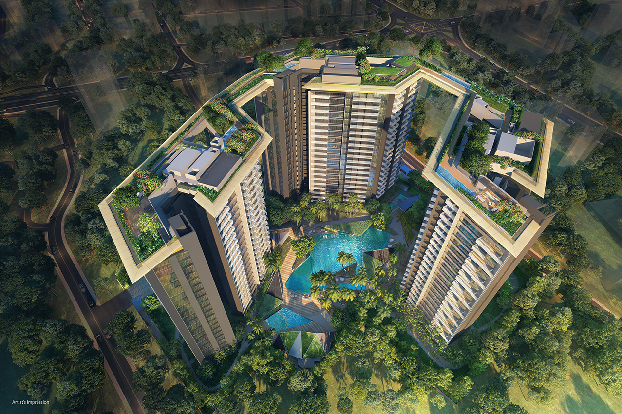 """Amber Park - With the three towers occupying only 35% of the site, the rest of the area – """"The Lagoon Bay"""" – is adorned with lush landscaping and facilities for residents"""