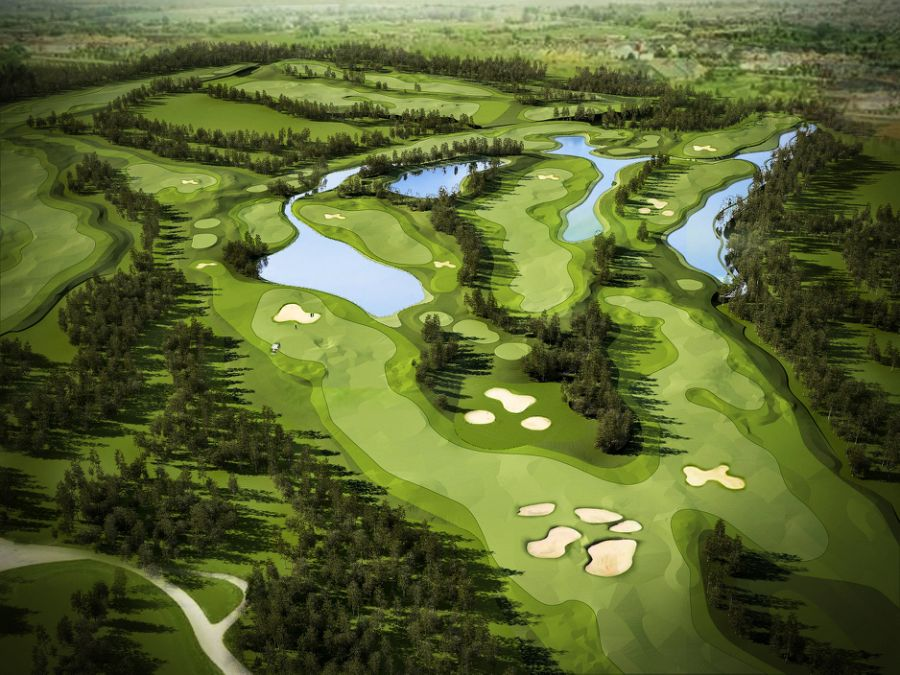 Artist's impression of a golf course at Forest City Golf Resort