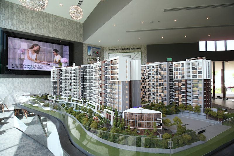 The scale model of Forest Woods at its showflat, which is strategically located beside nex mall