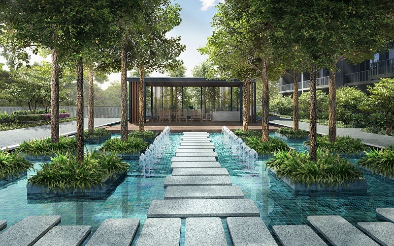 Water feature at Parc Botannia - EDGEPROP SINGAPORE