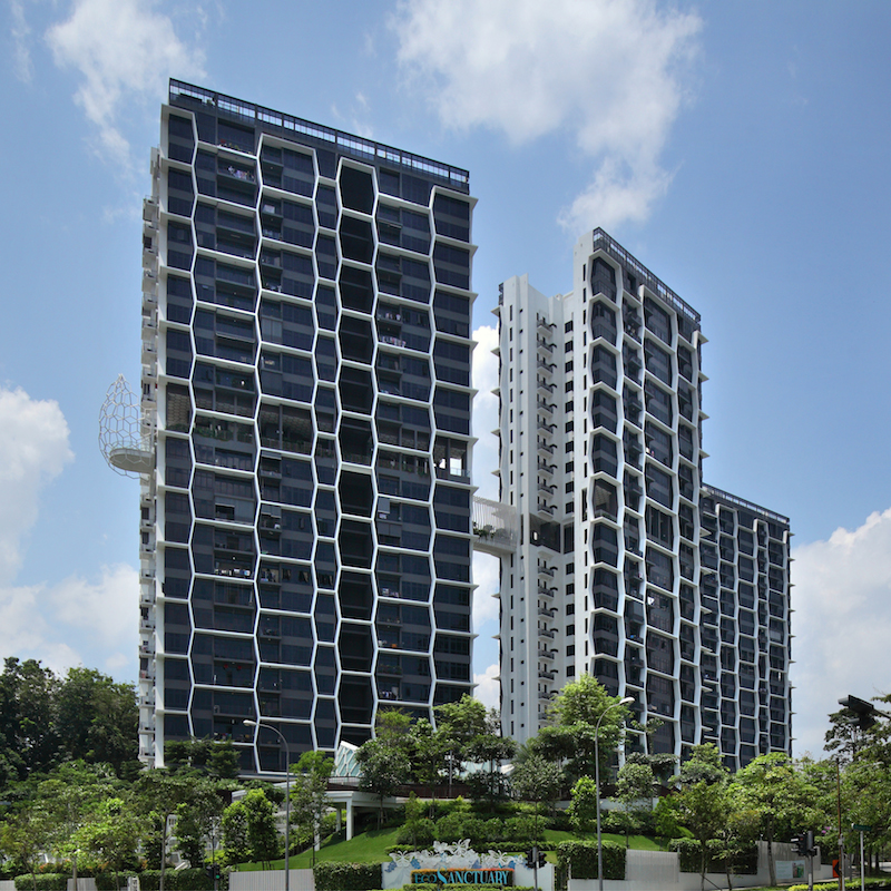 The three towers at Eco Sanctuary have a north-south orientation and are tilted to maximise wind flow - EDGEPROP SINGAPORE