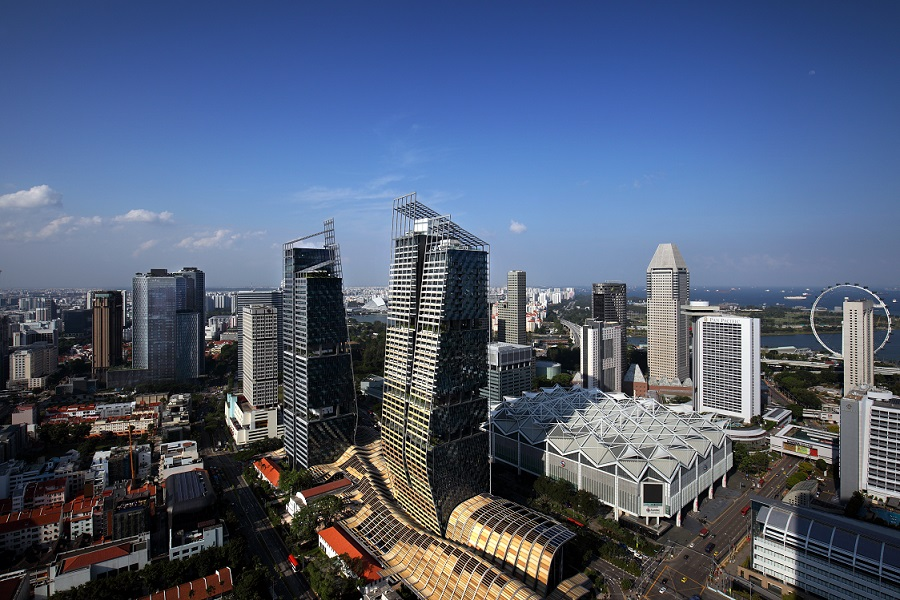 Views of mixed-use development South Beach, Suntec City and Bugis from Swissotel The Stamford