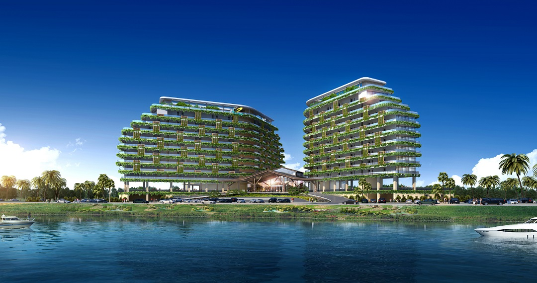 The 11-storey, twin-tower Forest City Golf Hotel is scheduled for completion in 1H2018