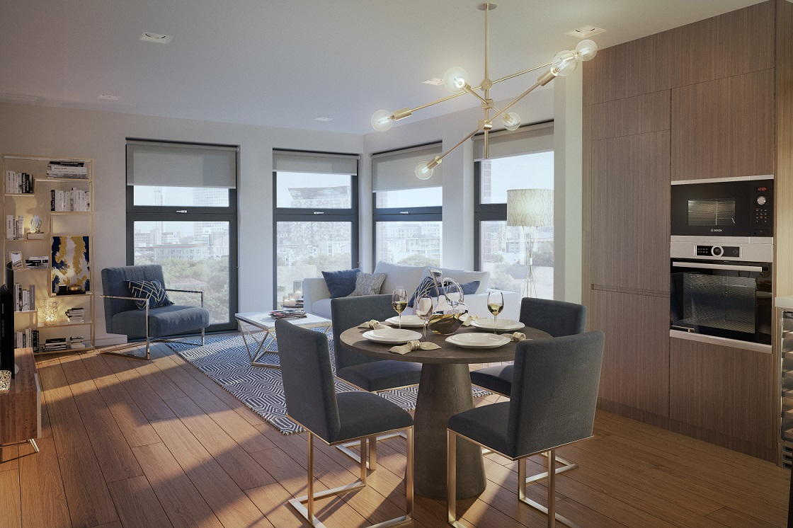 The dining and living area of a one-bedroom apartment at The Axium