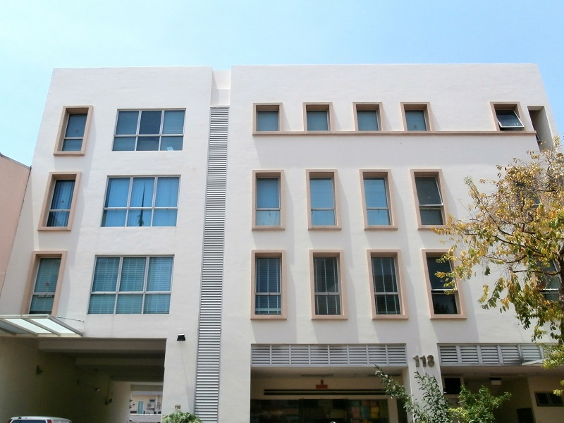 Exterior shot of the four-storey-with-attic commercial building at Joo Chiat Road on the market