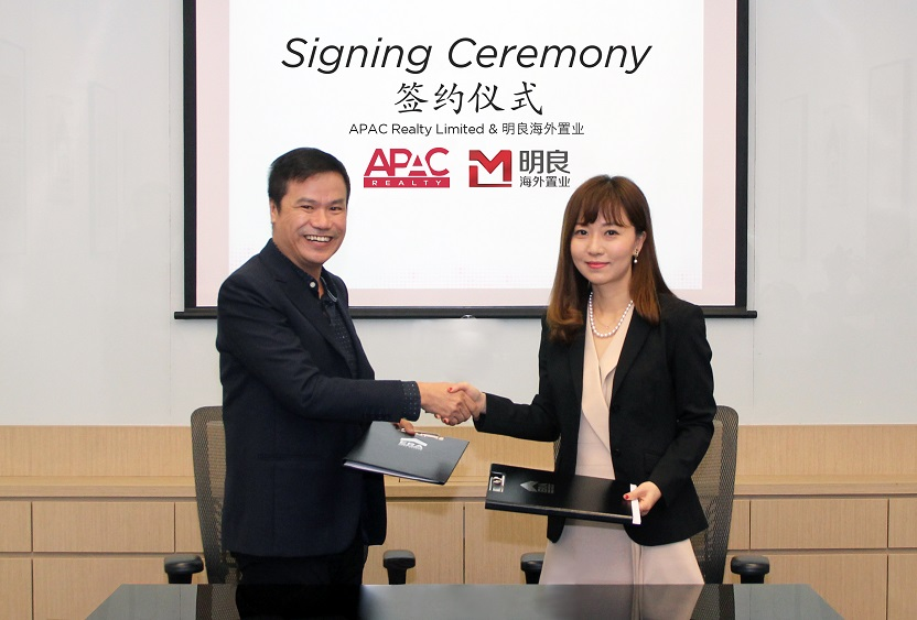 Jack Chua, CEO of APAC Realty, and Juliet Zhu, president and executive director of MLN Overseas (Singapore)