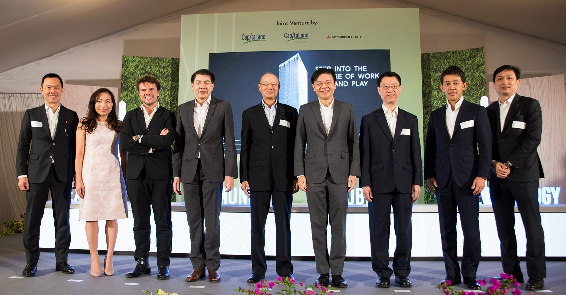 (From left to right) Mr Kevin Chee, CEO, CapitaLand Commercial Trust Management Limited, Ms Lynette Leong, CEO, CapitaLand Commercial Management Pte Ltd, Mr Bjarke Ingels, Principal, Bjarke Ingels Group, Mr Lim Ming Yan, President & Group CEO, CapitaLand Limited, Mr Ng Kee Choe, Chairman, CapitaLand Limited, Mr Lawrence Wong, Minister for National Development and Second Minister for Finance, Mr Soo Kok Leng, Chairman, CapitaLand Commercial Trust Management Limited, Mr Shojiro Kojima, Managing Director, Mitsubishi Estate Asia, Mr Ronald Tay, CEO, CapitaLand Singapore Limited at the groundbreaking ceremony for the redevelopment of Golden Shoe Car Park