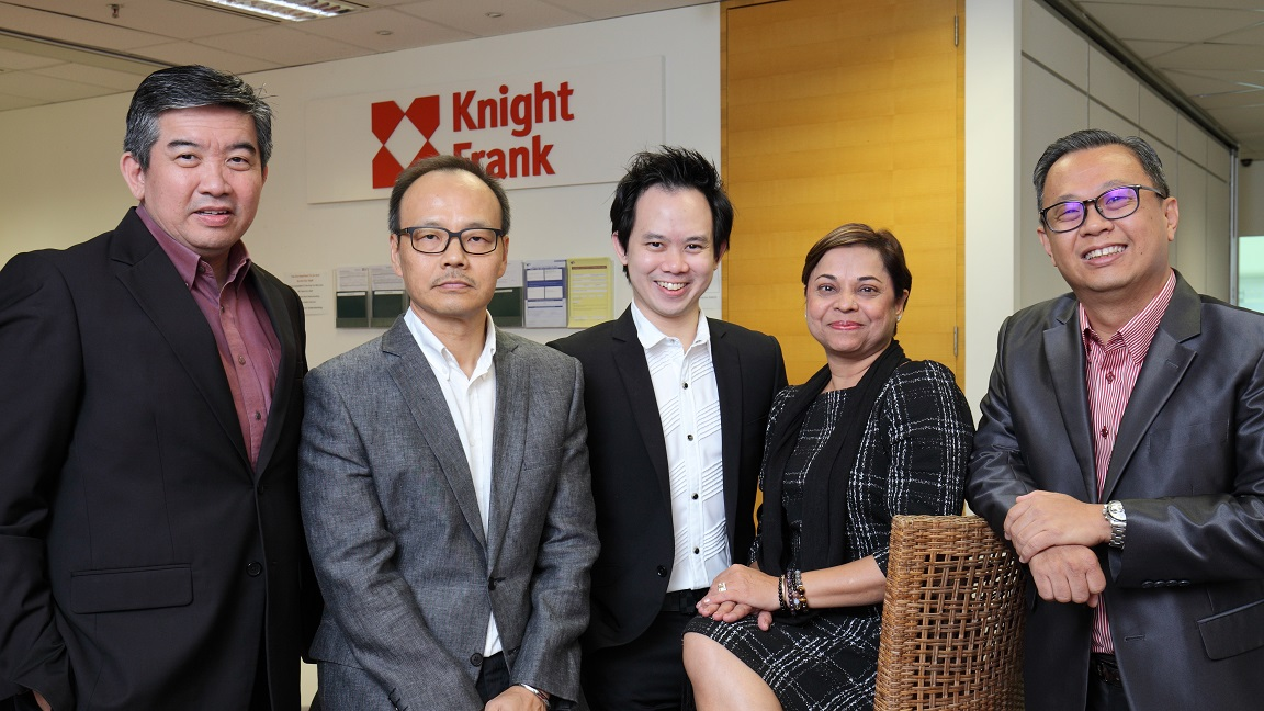 Knight Frank's group division directors who were previously with ET&Co (from left): Chua, Poh, Chung and Chand, with Tan