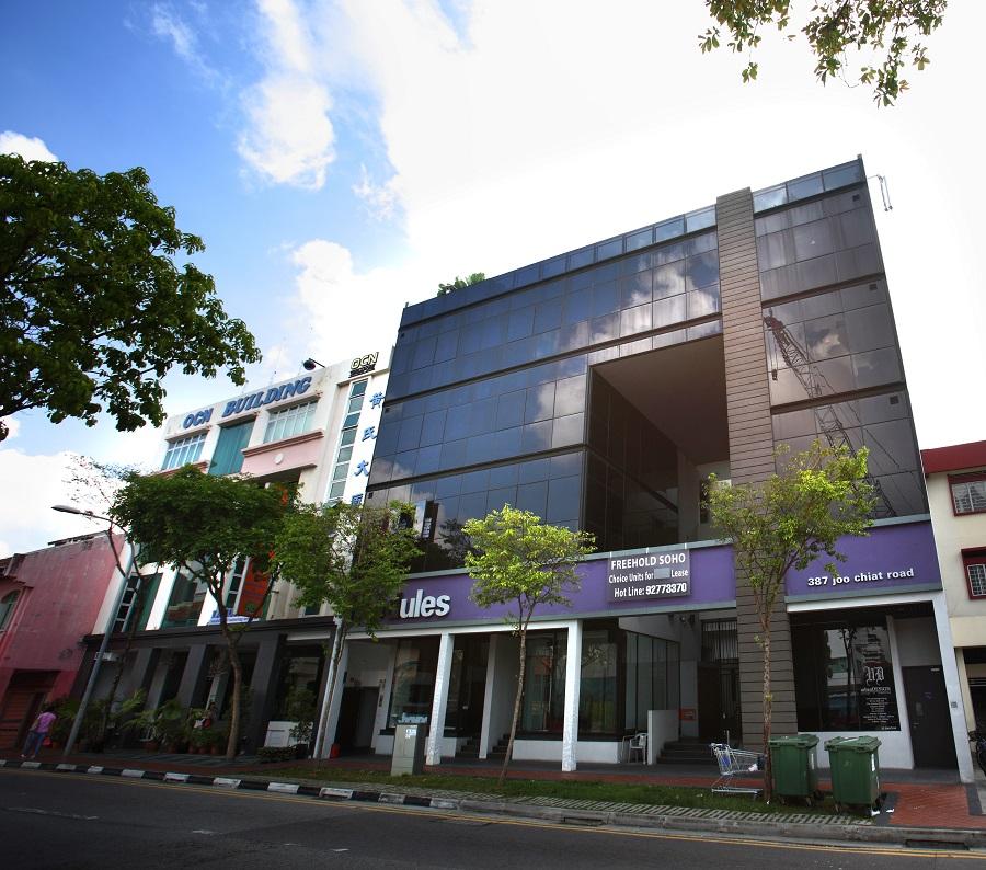 Exterior shot of OCN Building at 381 Joo Chiat Road (left), and 387 Joo Chiat Road (Credit: Samuel Isaac Chua/The Edge Singapore)
