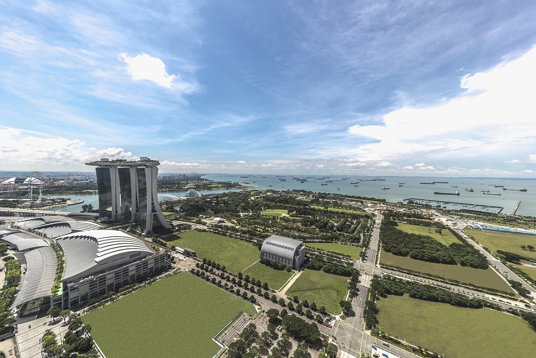 Views of the Marina Bay precinct from the 47th storey of Marina Bay Residences