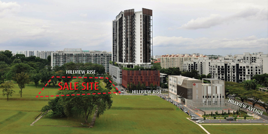 Aerial view of Hillview Rise land parcel