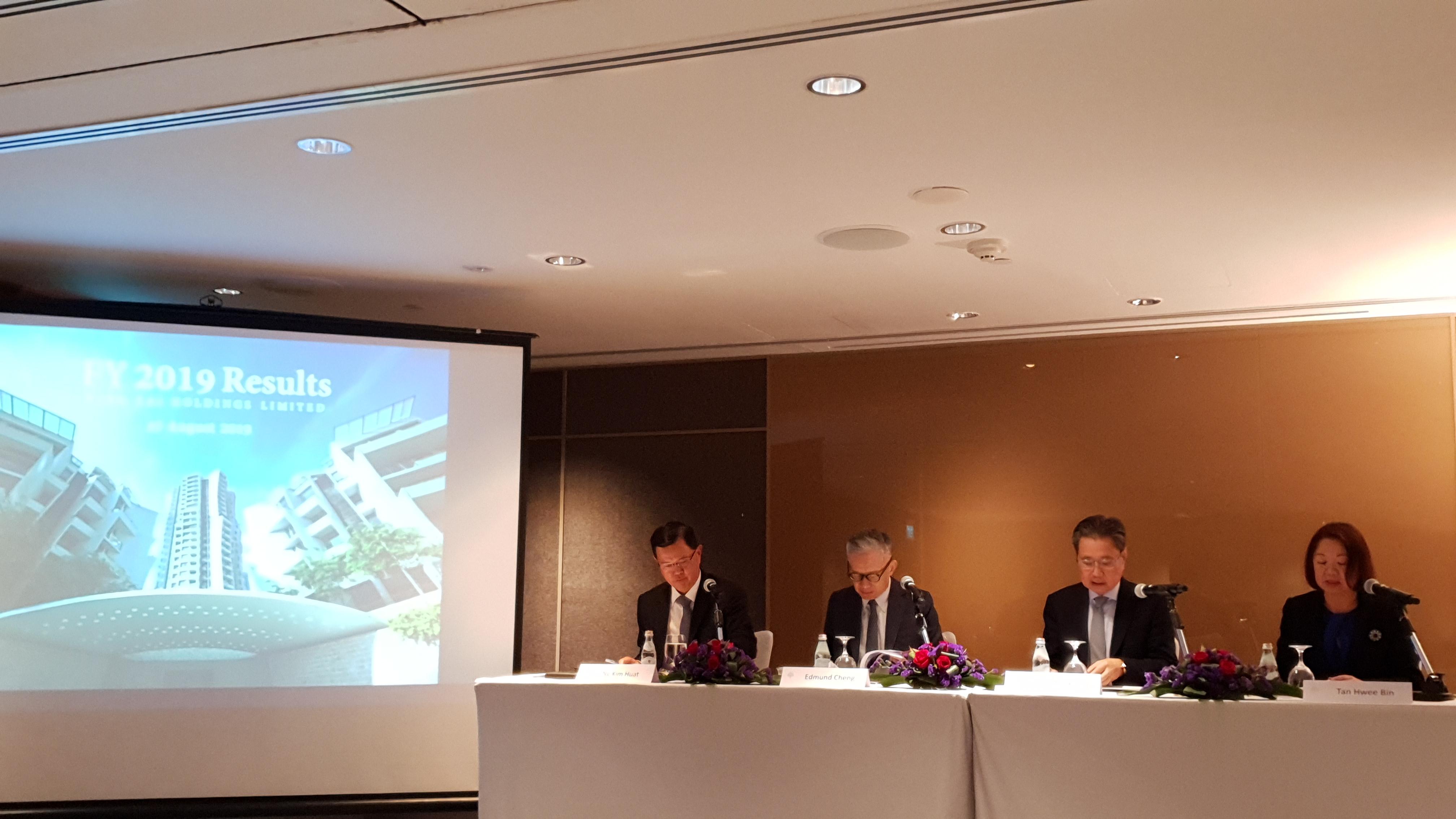 WING TAI HOLDINGS - From left: Ng Kim Huat, group chief financial officer; Edmund Cheng, deputy chairman; Cheng Wai Keung, chairman; Tan Hwee Bin, executive director (Picture: EdgeProp Singapore)