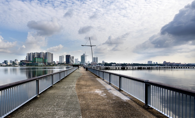 WOODLANDS - An evening view towards Johor from the jetty off Woodlands Waterfront Park - EDGEPROP SINGAPORE