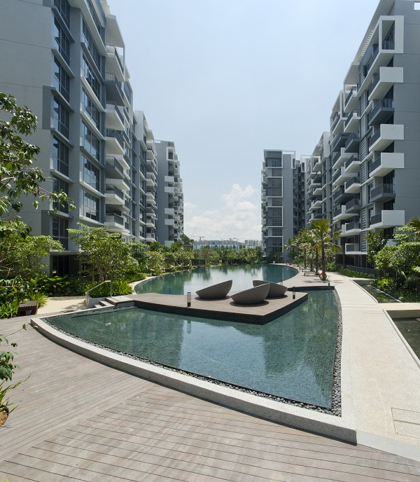 The 15 residential blocks of the development surround the central lap pool. (Picture: Qingjian Realty)