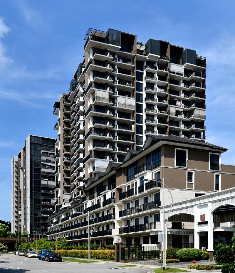 整个公寓项目包括一栋19层的住宅楼(共202个单位)和一栋5层的联栋公寓(共39个单位)。(图片来源:Albert Chua / EdgeProp新加坡)