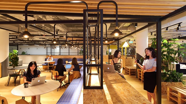 A picture taken in 2019 of JustCo's coworking location in Marina Square. The company has implemented government guidelines such as temperature screening, the filling up of declaration forms and safe distancing in their co-working locations (Picture: Samuel Isaac Chua/The Edge Singapore)
