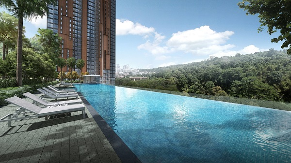 An artist impression of the infinity pool at Midwood - EDGEPROP SINGAPORE
