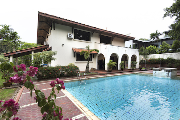 The back garden and swimming pool (Picture: Albert Chua/ The Edge Singapore)