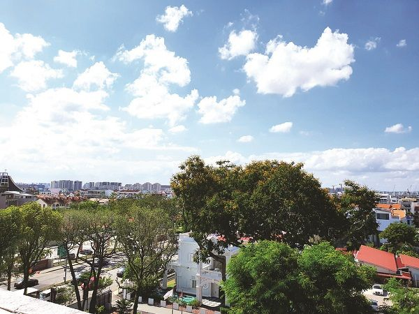 The view from the roof top terrace of the subject unit. The duplex penthouse will be offered at Edmund Tie's property auction on March 25.