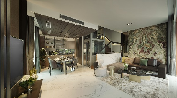 Common areas like the living room, dining room, and kitchen are on the ground floor.