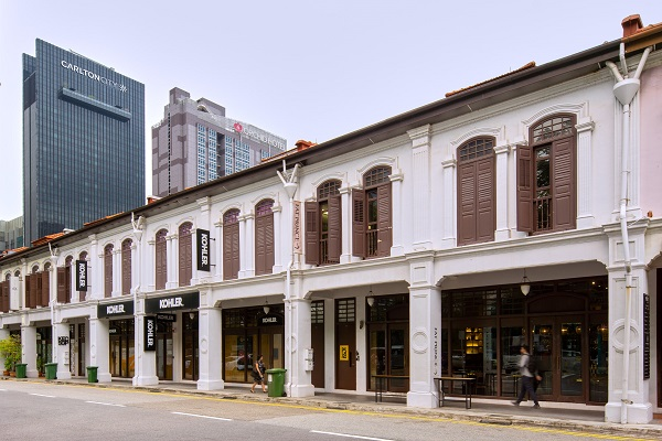 The row of six shophouses at Peck Seah Street are fully leased to institutional tenants. (Picture: Aberdeen Standard Investments)