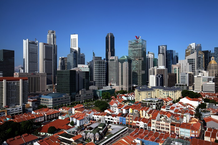 Foreign investment into Asia-Pacific real estate is at a decade high taking up 35% of total volumes. (Picture: Singapore's skyline and Chinatown area/Samuel Isaac Chua/The Edge Singapore)