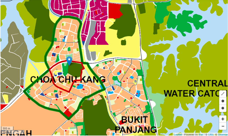 CHOA CHU KANG - The green outline skimming the edges of Choa Chu Kang demarcates the planning area from its neighbours - EDGEPROP SINGAPORE