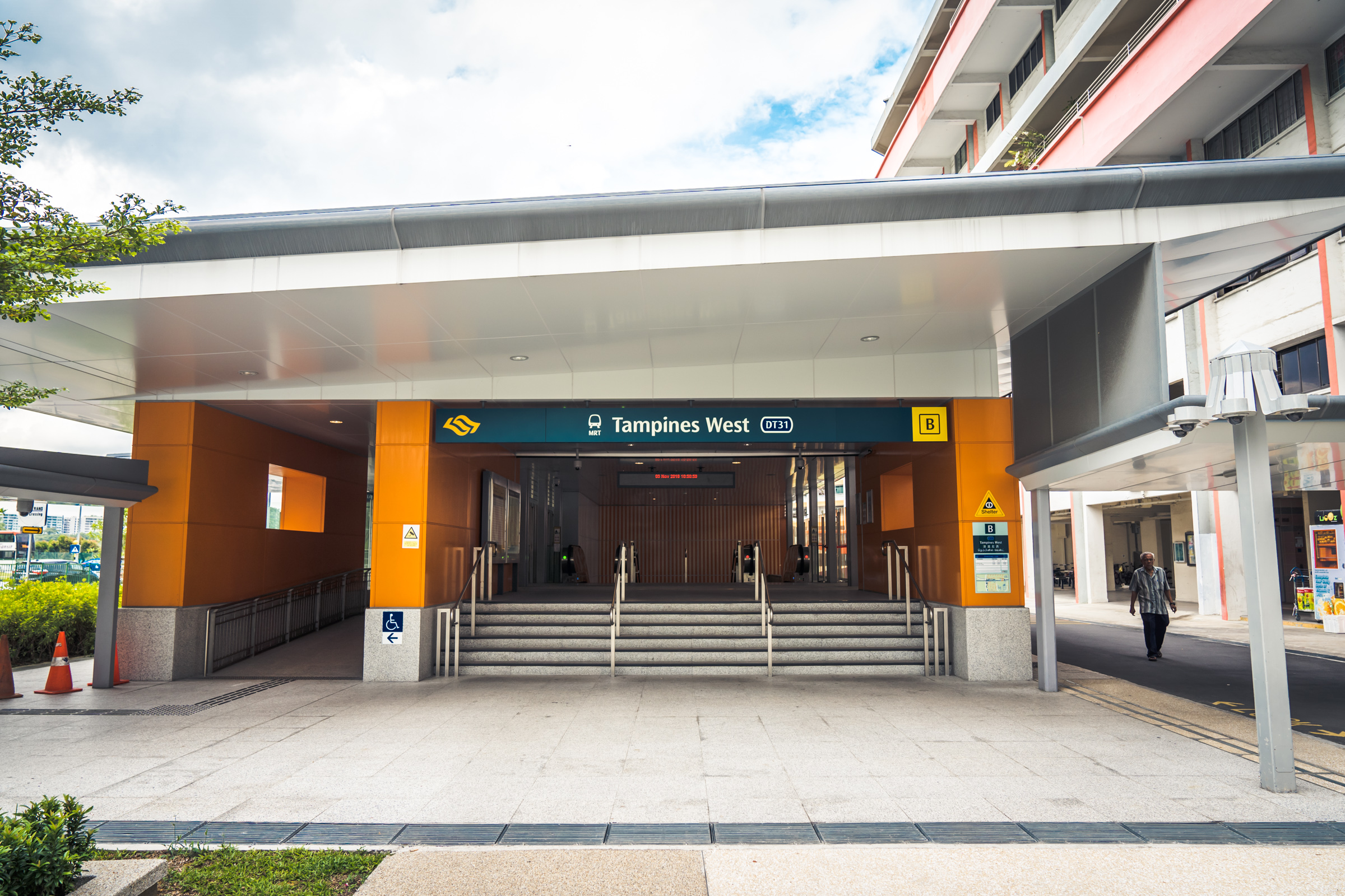 Exterior shot of Tampines West MRT station