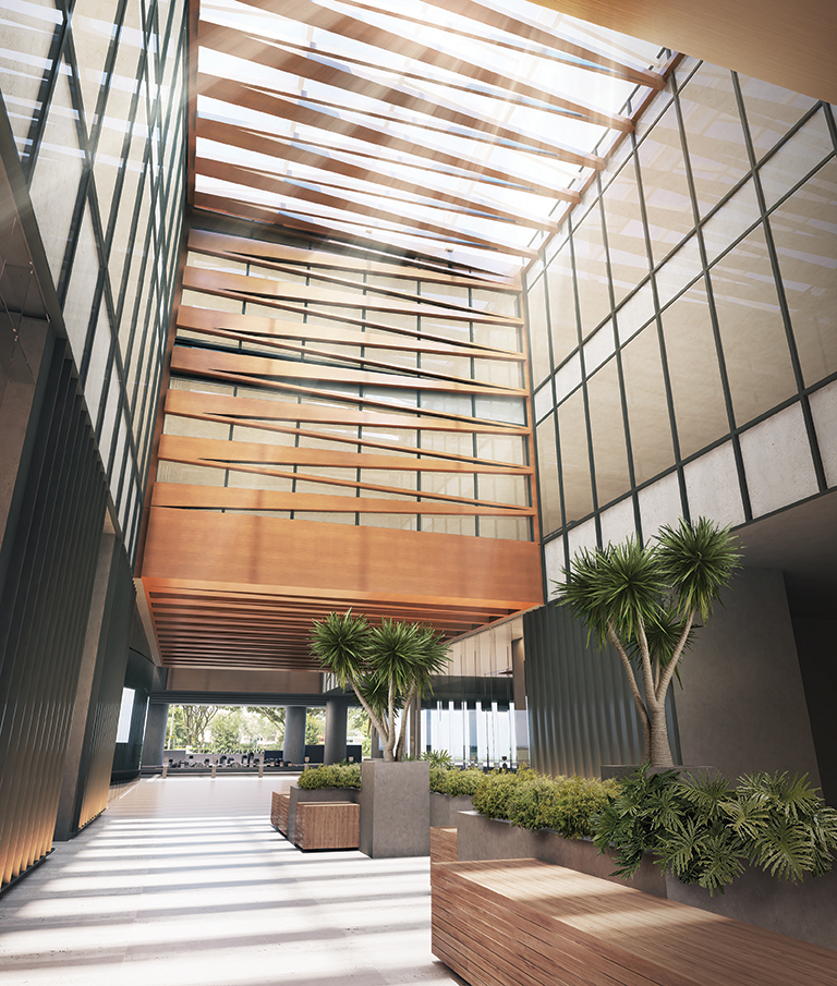 ARTHALAND - Artist's impressions of the Savya Financial Center breezeway (ARCA South, Taguig City)